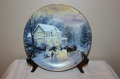 """Home For The Holidays """"Sleighride Home"""" Thomas Kinkade Collector Plate, 2749 D"""
