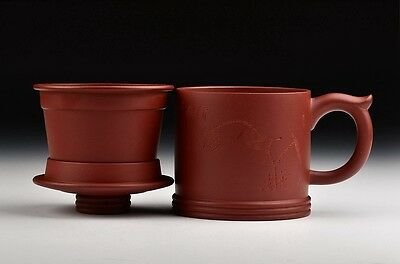 Chinese Yixing Zisha Clay Qingqu Teacup,With Strainer Basket, 400cc.