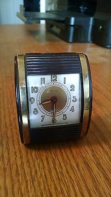 VINTAGE WESTCLOX TRAVALARM Wind Up travel alarm clock Brown Bakelite Roll Top