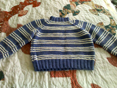 Hand-made knit boy's sweater, blue with white stripes size 3T