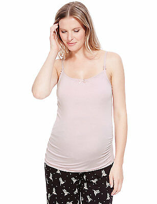 M&s Maternity & Nursing Pink Support Camisole Pyjama Top Size 16 Bnwt