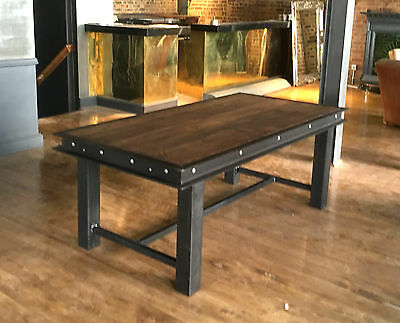 Vintage Industrial Dining Table Boiler plate style Retro Welded Iron