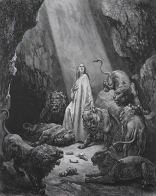 Daniel and the Lions by Gustave Dore Antique Print C. 1870 Bible (40)