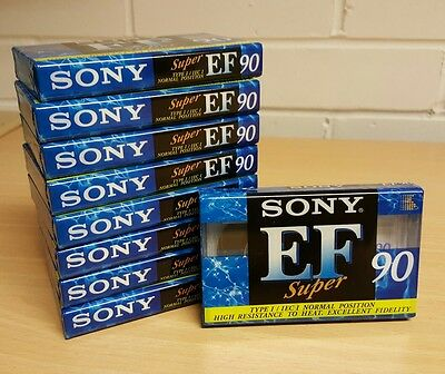 9 X SONY EF Super 90 Blank Cassette Tapes - Brand new and sealed.