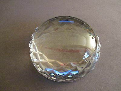 Paper Weight Large  Cast Crystal clear Glass/Magnifying Glass ~