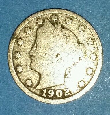Circulated 1902 Liberty Nickel  ID #6-12