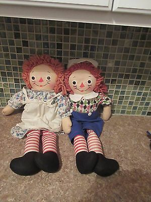 Vtg Raggedy Ann and Andy Georgene Dolls Silsby Face 19""