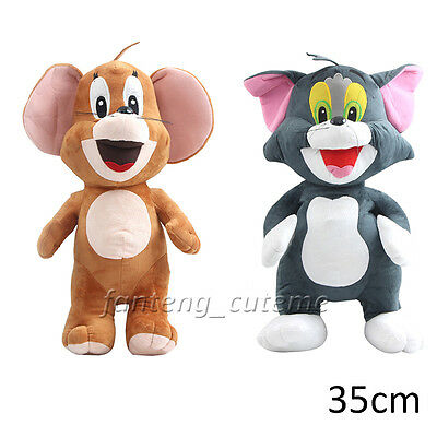 Cartoon Tom and Jerry Plush Doll Soft Cute Stuffed Toy Mouse Cat 35cm Kid Gift