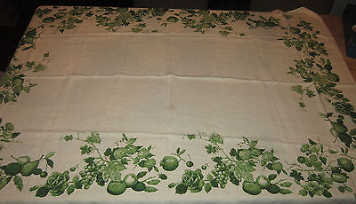 Vintage Mid Century Luther Travis Green Fruit/Flowers Linen Tablecloth