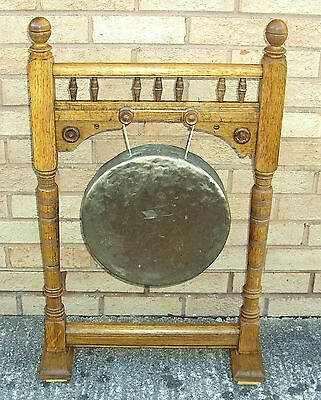 """Large Antique Victorian Oak Dinner Gong with Brass Gong Height 35"""""""