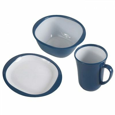 Kampa 12 Piece Camping Picnic Plastic Plates Bowls Mugs Dinner Set - Blue