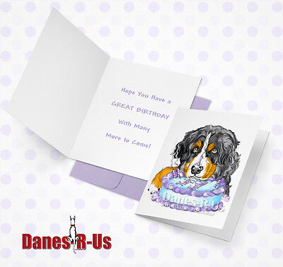 Bernese Mountain Dog Art Birthday Cake Face Greeting Note Cards Set of 10
