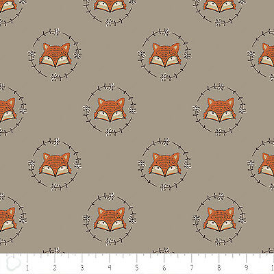 Fabric 100% Cotton Camelot Wilderness Fox Heads