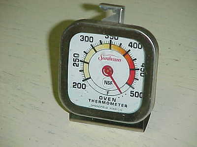 Vintage Sunbeam Oven Thermometer 200-500 F Color Chrome Springfield Temperature