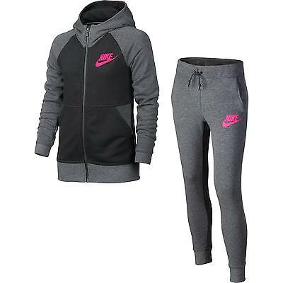 Nike Tuta Nsw Trk Suit Girl - Nero/antracite/fuxia - 806394-091
