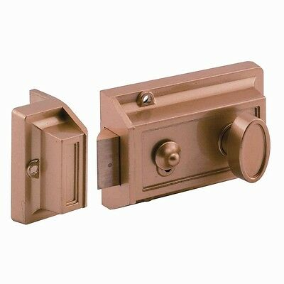Prime-Line Single Cylinder Brass-Painted Locking Night Latch Replacement Lock