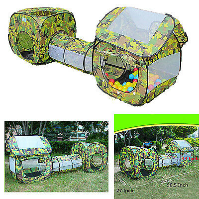 CAMO Pop Up Set 3 pcs Tent Tunnel Play House Toddlers Child Kids