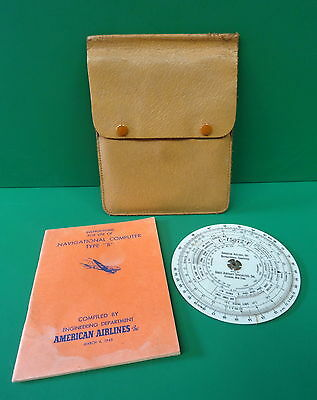 1944 American Airlines Dead Reckoning Computer W/manual