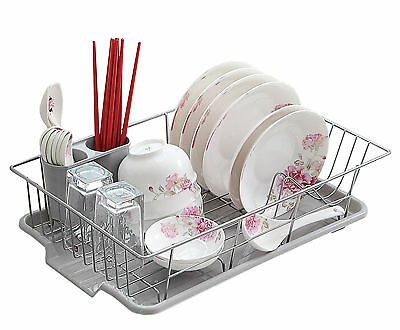 New Basicwise Stainless Steel Dish Rack with Plastic Drain Board, QI003218