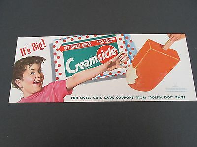 NOS 1958 Creamsicle Ice Cream Bar -  Vintage Advertising Paper Poster - Litho
