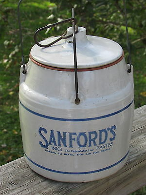 Antique 1920s SANFORD'S INKS Pastes W/LID, Wire BAIL & Seal - ABSOLUTELY PERFECT