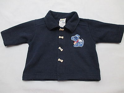 Baby Baby Boys Size 0000 Jacket, navy blue puppy coat cute buttons winter jumper