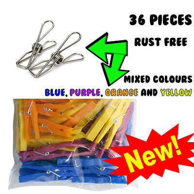 36 Pc Pack Piece Strong Clothes Pegs Laundry Plastic Washing Durable Rust Free