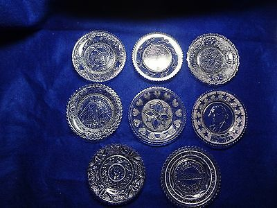 Vintage - 8 Lacy Glass Cup Plates