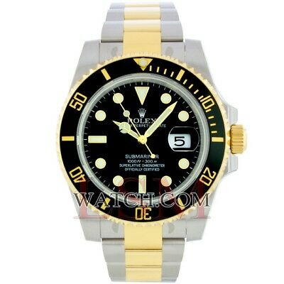 Rolex SUBMARINER 116613 Steel & 18K Yellow Gold Black Ceramic  Sport Watch