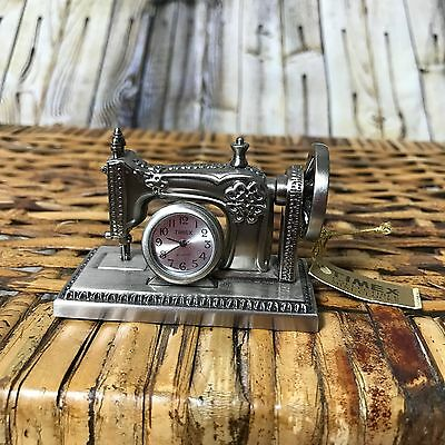 TIMEX Collectible Old Fashioned Sewing Machine Mini Clock NEW WITH TAG pewter