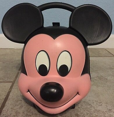 """Vintage Aladdin Industries Walt Disney Mickey Mouse Face 10""""Tall Lunch Box USA"""