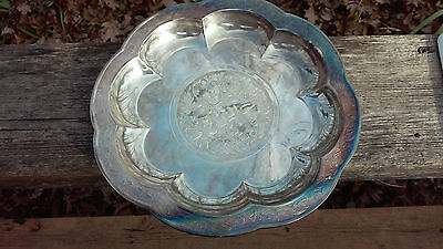 Silver-Plated Chinese Plate, Yuan Dynasty 1279-1368 A.d. Repro By Gorham