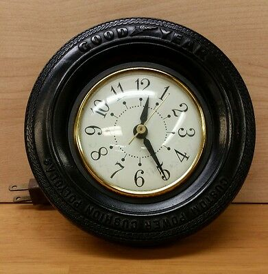 Vintage Good Year Tire Advertising Electric Desk Clock / Sessions USA Movement