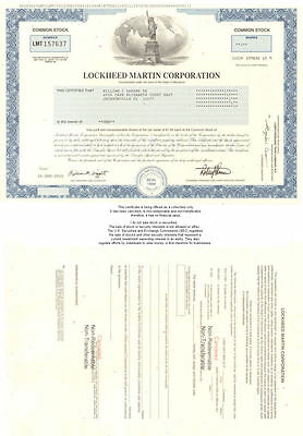 Lockheed Martin   collectible stock certificate share