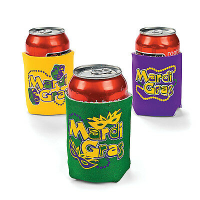 12 Mardi Gras KOOZIES COOZIE COOLIES FAT TUESDAY beads drink chiller