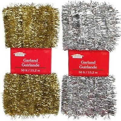 New~Silver & Gold Christmas Decor - Tinsel Garlands, 50 ft.