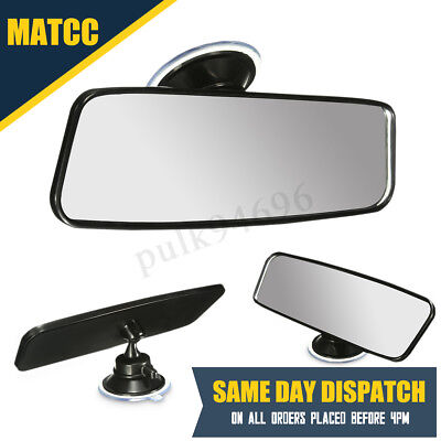 Universal Car Truck Wide Flat Interior Rear View Mirror Adjustable Suction Stick