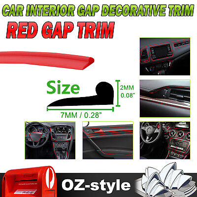 5M Gap Red Line Interior Upgrade Garnish Moulding Decoration Trim Vehicle Parts