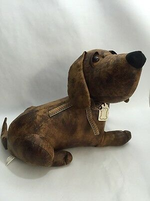 Dog Faux Leather Stuffed Decoration Not a Toy Door Stop Hound