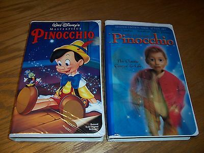 (2) Pinocchio And The Adventures Of Pinocchio Disney Vhs Tapes