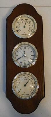 Vintage Wall Mount Wood Clock Thermometer Hygrometer