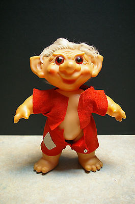 """Rare Vintage 1960's 'made In Denmark' 9.5"""" Troll Doll With Felt Outfit"""