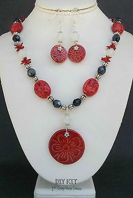"""Necklace Bead Kit with Instructions  """"Mandeville""""  DIY KIT includes earrings"""