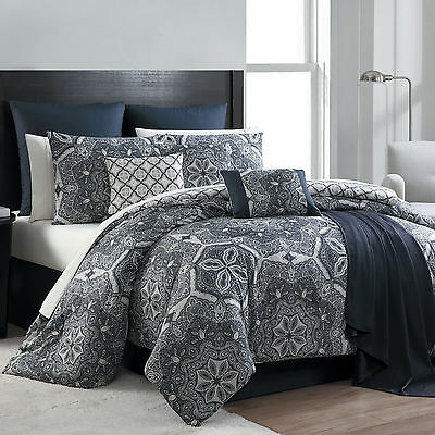 King Size 16 Piece Complete Bed Set Taupe Black Gray Bedding