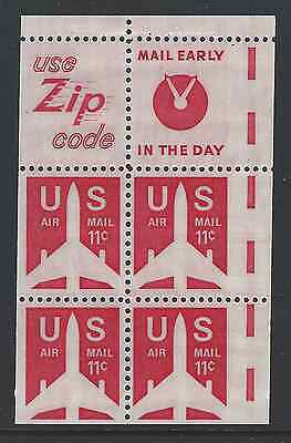 Major Miscut showing EE guides. USA Scott C78a - 11c Airmail Booklet, Mint NH