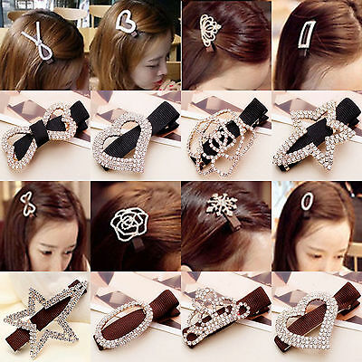 Elegant Women Crystal Rhinestone Hair Pin Clips Barrette Hairpin Bridal Jewelry