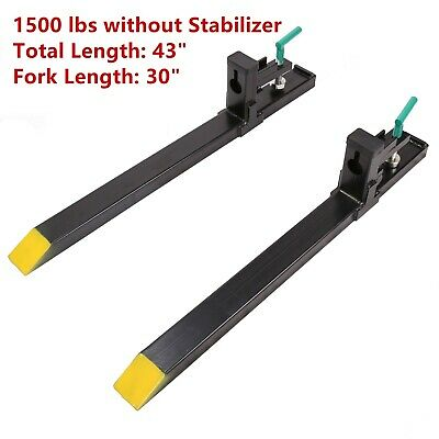 "HD 43"" 60"" 1500LBS Clamp on Pallet Forks Loader Bucket Tractor Chain Skidsteer"
