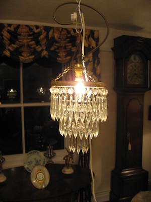 Small Pretty Antique Style Vintage Cut Glass 3 Drop Waterfall Chandelier /3827