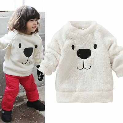 Cute Winter Baby Kids Clothing Bear Furry Coat Thick Wool Sweater Jacket White