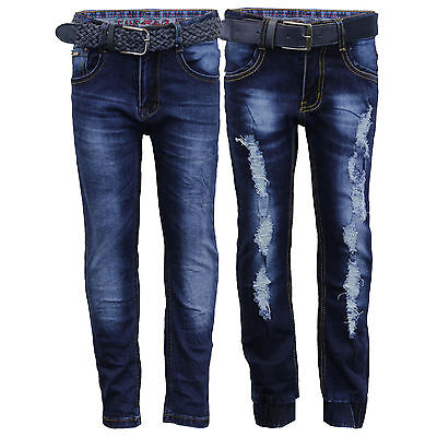 boys ripped denim jeans kids pants trousers bottoms children fashion FREE BELT